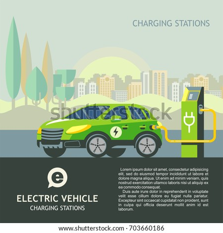 Green electric car at charging station. The background of urban landscape.  #703660186