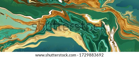 Green emerald marble and gold abstract background texture. jade and Turquoise marbling with natural luxury style swirls of marble and gold powder.  21:9 Wallpaper design vector.