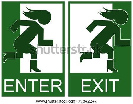 Green emergency exit and enter sign, icon and symbol