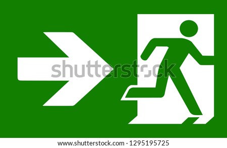 Green emergency exit sign Stockfoto ©