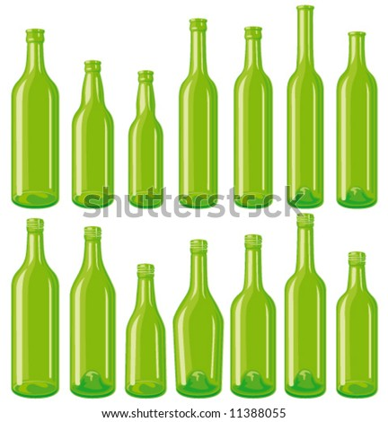 Green 14 empty glass bottle set, each in separated layers.