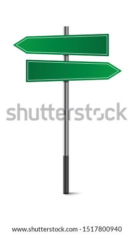 Green empty road signs. Direction Traffic sign board. Two arrows choice