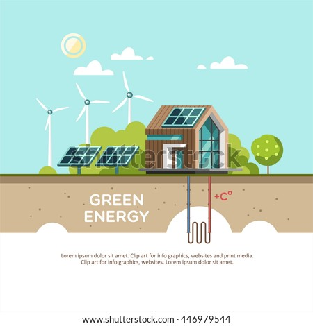 Shutterstock Green energy an eco friendly modern house. Solar, wind, geothermal power. Vector concept illustration.