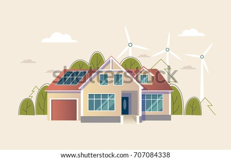 Green energy an eco friendly traditional and modern house. Solar, wind power. Vector clip art