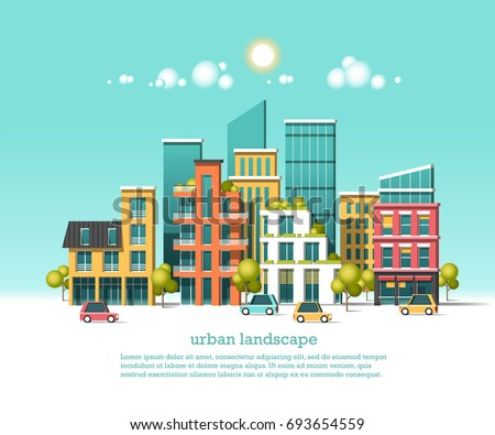 Green energy and eco friendly city. Modern architecture, buildings, hi-tech townhouses, cars, green roofs, skyscrapers. Flat vector illustration. 3d style.