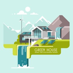 Green energy and eco friendly modern house on mountain landscape background. Home by the waterfall. Solar, wind power. 3d vector illustration.
