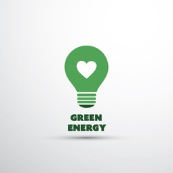 Green Energy Concept Design With Light Bulb And Heart