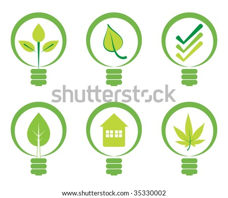 Green energy concept - Power saving light bulbs. - stock vector