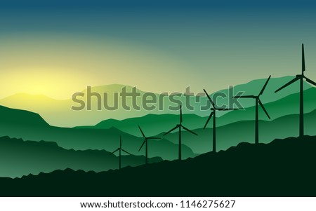 Green energy concept - Silhouette of landscape view of wind power turbine among mountain hill with sky in the early morning and copy space for text in the sky