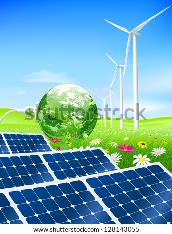 Green energy concept with Planet Earth and electric plug on a lush meadow with solar panels in the foreground and wind turbines in the background.