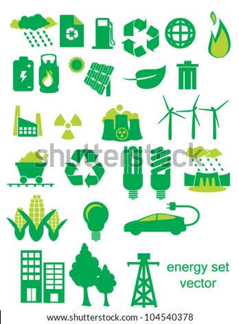 Green Energy Icon Set depicting energy and energy use