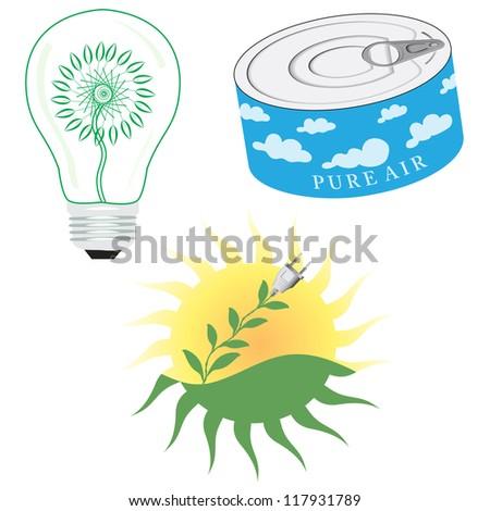 Green Energy Icon Set. Vector illustration.