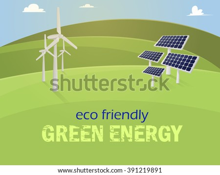 Green energy. Solar panels and wind generators on mountains