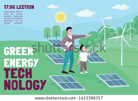 Green energy technology banner flat vector template. Using alternative clean power sources. Brochure, poster concept design with cartoon characters. Horizontal flyer, leaflet with place for text