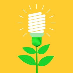 Green energy vector design illustration isolated on yellow background