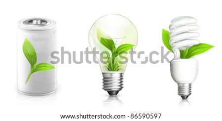 Green Energy, vector set - stock vector