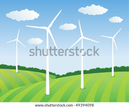 Green energy. Wind turbines on the green field