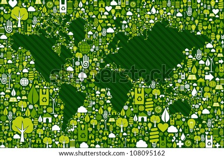 Green environment icon set around World map shape. Vector file layered for easy manipulation and custom coloring.