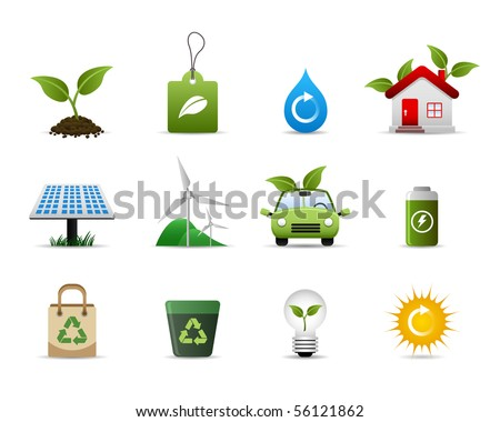 Green Environment Icon Set Vector - stock vector