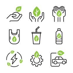 Green environment icons set. Nature conservation, holding green leaf, do not using plastic wastes, eco and green energy. Stroke outline style. Vector. Isolate on white background.