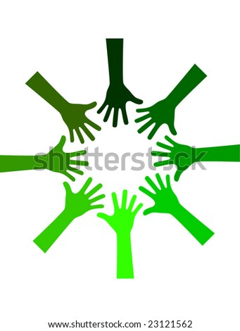 green environmental hands working together