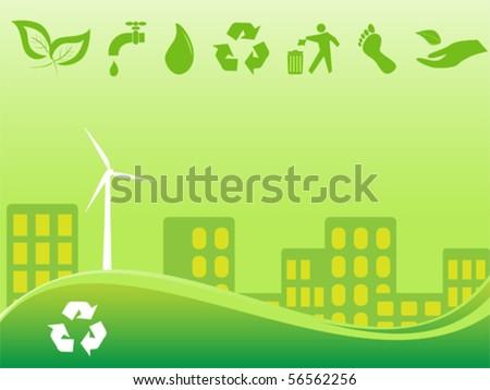 Green environmentally conscious city view