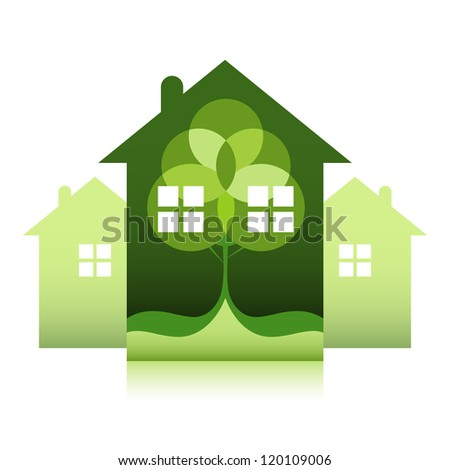 Green environmentally friendly real estate. Abstract tree on house.