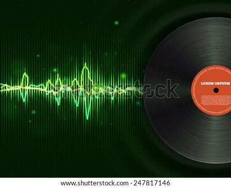 green equalizer with vinyl disk