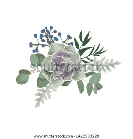 Green eucaliptus leaves, succulent. Wedding concept. Floral poster, invite. Vector illustration for greeting card or invitation design background