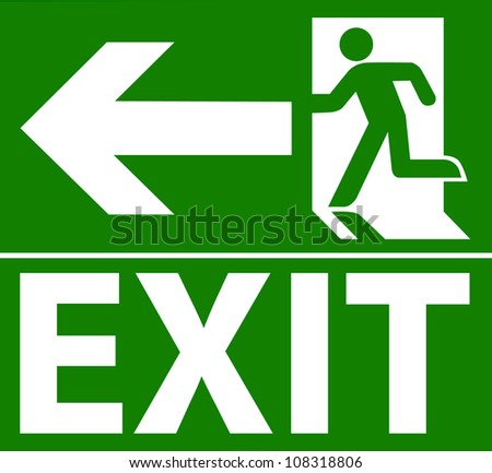 green exit emergency sign on...