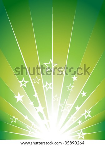 Green explosion background with many stars.