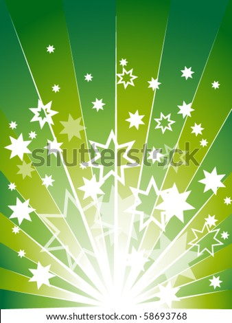 Green explosion background with many stars