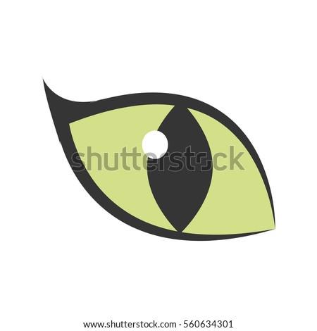 green eye big cat glowing icon
