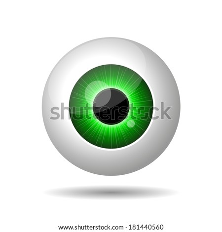 green eye on white background