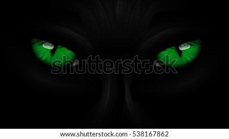 green eyes black Panther on dark background