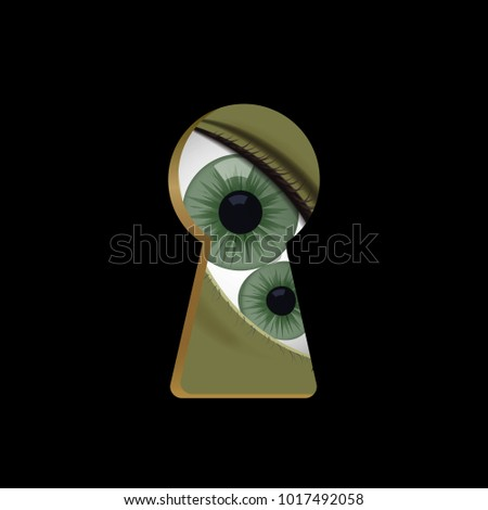 Green eyes in the keyhole. Monster look vector illustration. Halloween. Double pupil.
