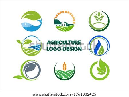 Green farmer  vector, farm badge logo template tarım yaprak ziraat çiftlik doğal  balık  Stok fotoğraf ©