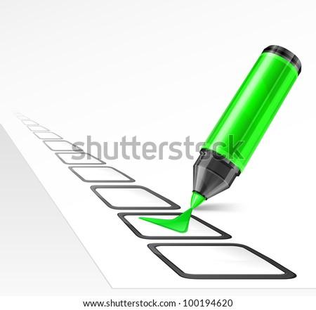 Green Pen Marking Green Felt Tip Pen With Check
