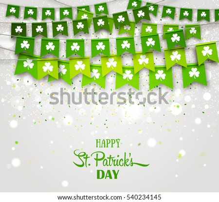 Green festive flags with clovers, bokeh and confetti. Irish holiday, celebration party. Happy Saint Patrick's Day backdrop with garlands. Vector illustration for greeting card, poster, banner