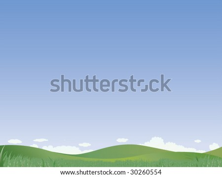 Green Field and Blue Sky with Light Clouds- Vector Illustration