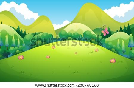 green field with hills and