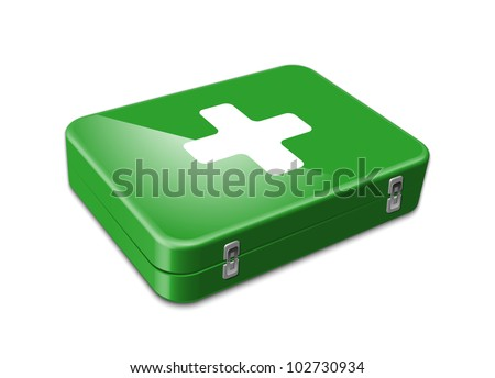 Green first aid icon. Vector illustration
