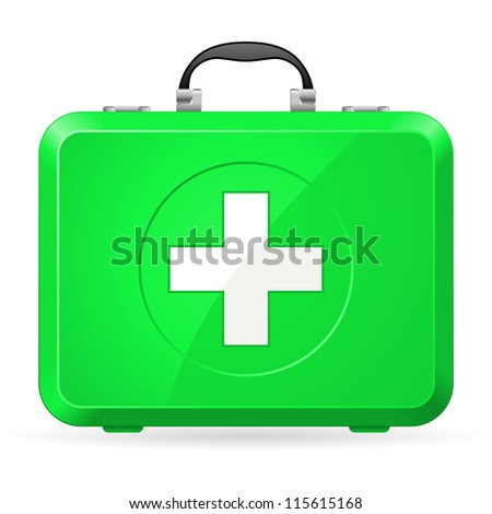 Green First Aid kit. Illustration on white