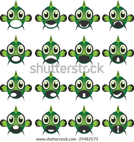 Cartoon Fish Face Green Fish Face Impressions