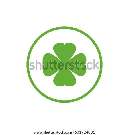 green flat icon of irish clover
