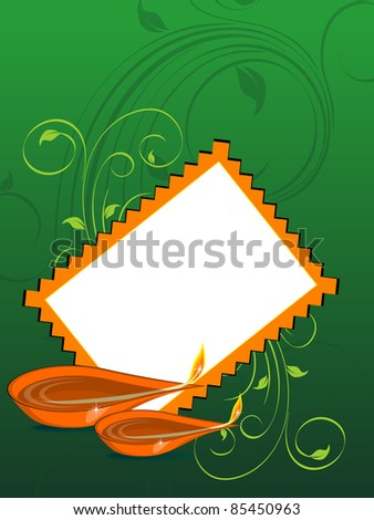 green floral design background with diwali greeting card and set of oil lamp for diwali & other indian festival