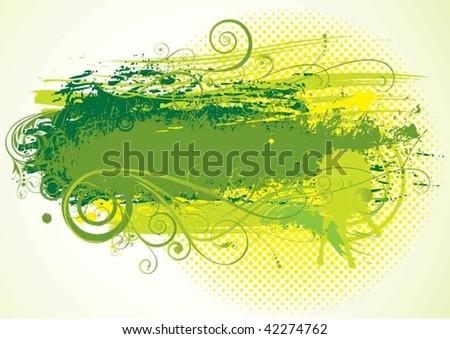 Green floral grunge paint splatter background.