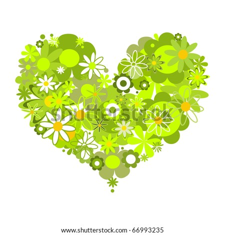 Green floral heart, eco message
