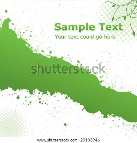 Green Floral Ink Splash - stock vector