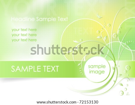 Green flower background, greeting card - abstract floral design in white, green and light yellow color - vector, eps10 - suitable for spring themes